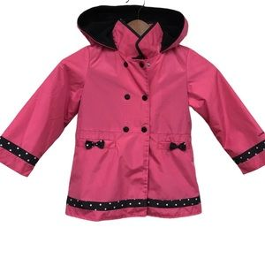 London fog little girls raincoat pink black 5